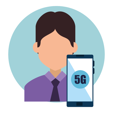 businessman and smartphone with connectivity 5g vector illustration
