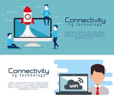 connectivity 5g technology icons vector illustration design Banque d'images - 109821525