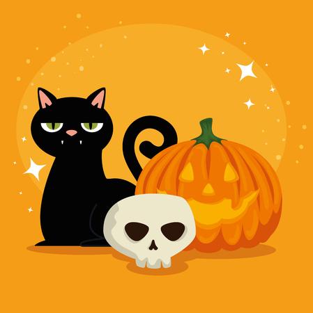 halloween card with pumpkin and skull vector illustration design Çizim