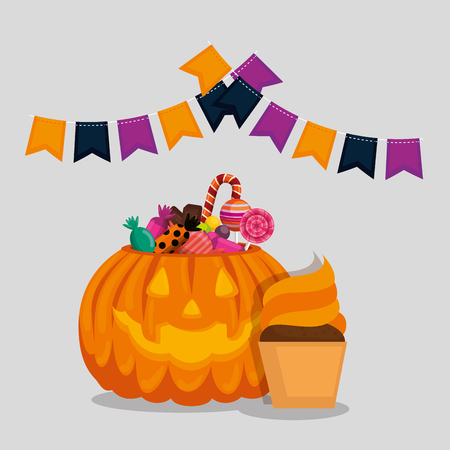 halloween card with pumpkin and candies vector illustration design Vettoriali