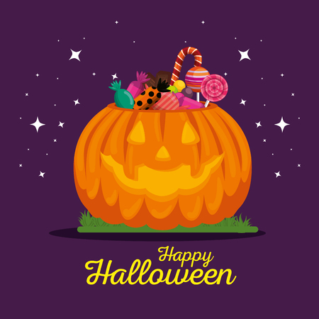 halloween card with pumpkin and candies vector illustration design Illustration