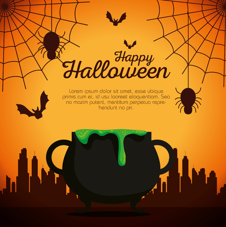halloween card with cauldron and spiders vector illustration design