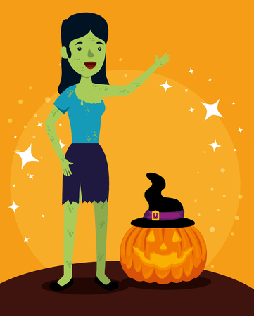 halloween card with pumpkin and Frankenstein woman vector illustration