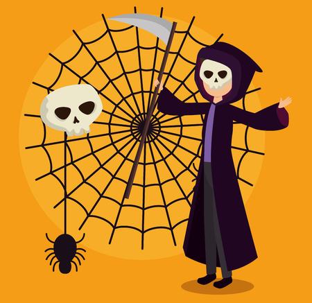 halloween card with death disguise and spider web vector illustration