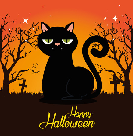 halloween card with black cat in cemetery vector illustration design