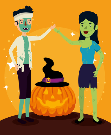 halloween card with zombie disguise and pumpkin vector illustration Illustration
