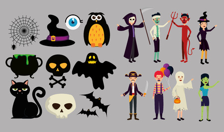 halloween card with people in disguise vector illustration design
