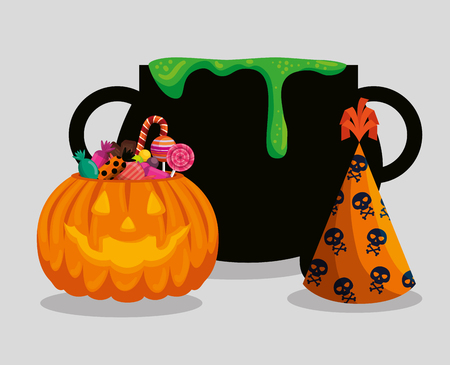 halloween card with cauldron and pumkin vector illustration design