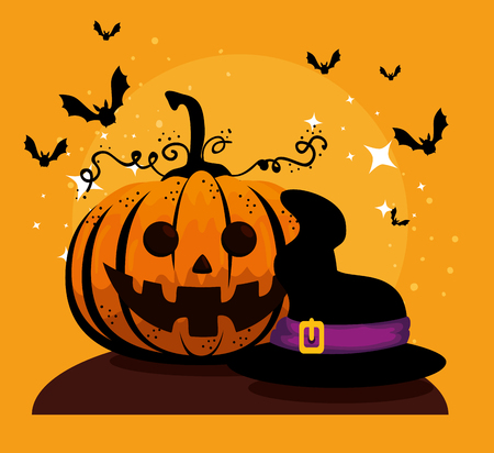 halloween card with pumpkin and witch hat vector illustration design