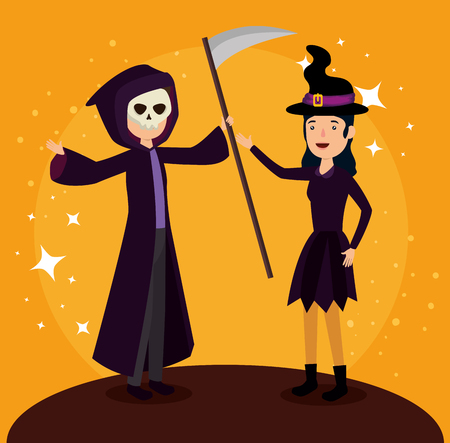 halloween card with witch disguise ans death vector illustration design Illustration