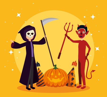 halloween card with death disguise and devil vector illustration design Illustration