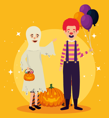 halloween card with ghost disguise and clown vector illustration design