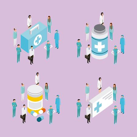medical health pills medicines bottles doctors patients forms vector illustration Иллюстрация