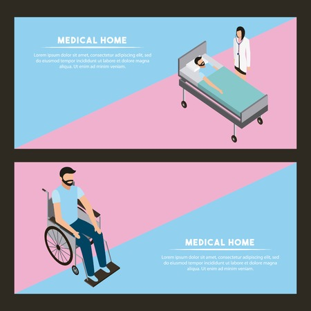 medical health banner patient in stretcher man in a wheelchair vector illustration