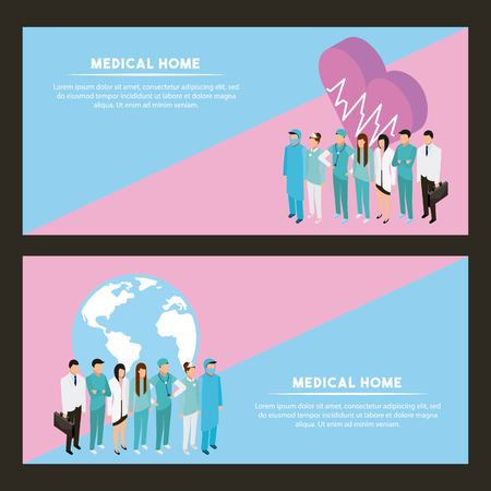 medical health heart life pulse world services icons vector illustration Illustration