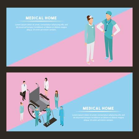 medical health banner wheelchair and doctor nurse talking vector illustration