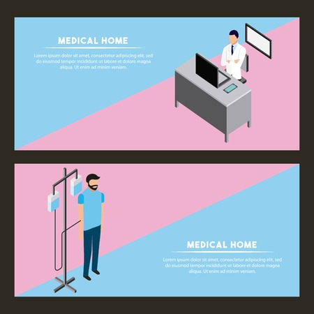 medical health banner doctor in office patient with stand iv vector illustration