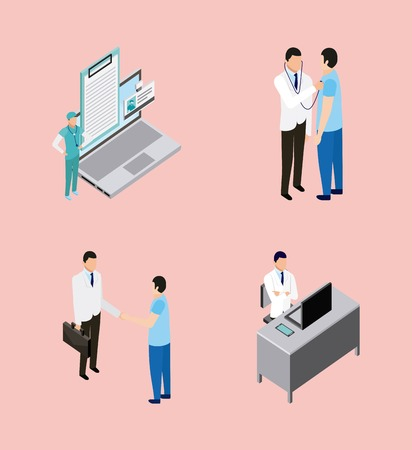 medical health computer documents doctor patient and nurse talking vector illustration