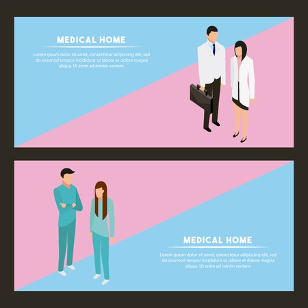 medical health patient doctors talking label sign vector illustration