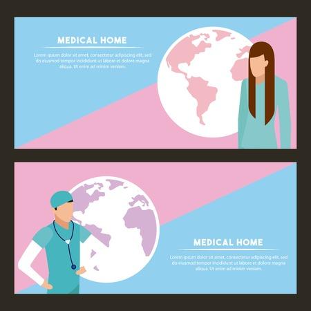 medical health patient doctor world service sign vector illustration Illustration