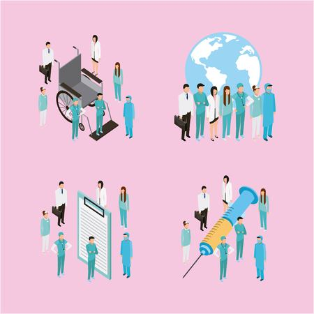 medical health doctors patients and nurse with form inyection wheelchair vector illustration