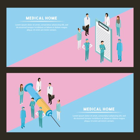 medical health inyection and form doctors vector illustration