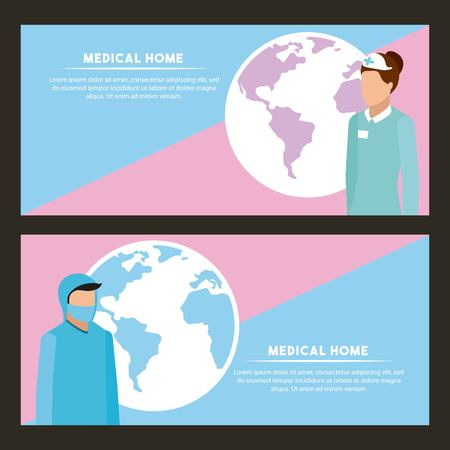 medical health signs banner nurse and doctor vector illustration