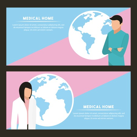 medical health banners woman and man world service vector illustration Illustration