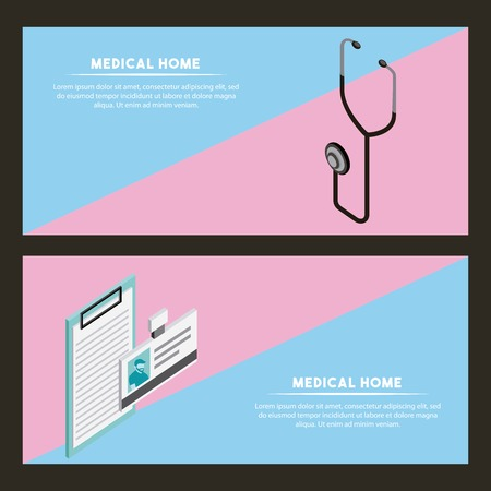 medical health stethoscope document form vector illustration