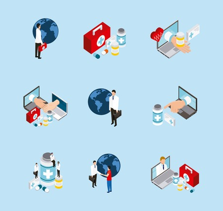 medical health icons services medicines vector illustration