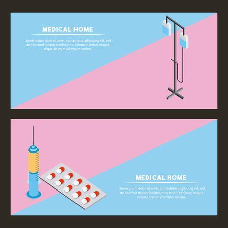 medical health banner sign stand iv pills inyection vector illustration