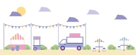 outdoor park food cars place to eat vector illustration Archivio Fotografico - 109821620