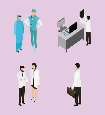 medical health desk doctor checking radiography nurse and patient vector illustration