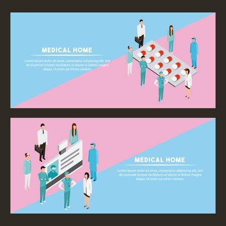 medical health label signs pills medicines document patients vector illustration Illustration