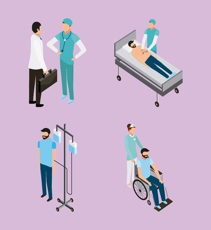 medical health patients doctors and nurse talking vector illustration Иллюстрация