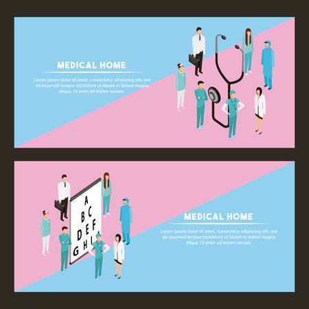 medical health doctors and nurse with optical letters vector illustration Illustration