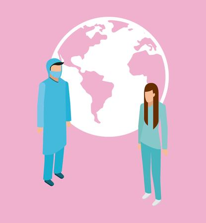 medical health world service doctor and patient vector illustration