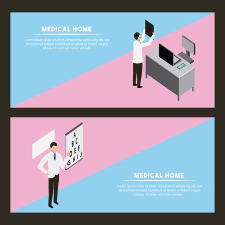 medical health office doctor checking exams optical vector illustration Illustration