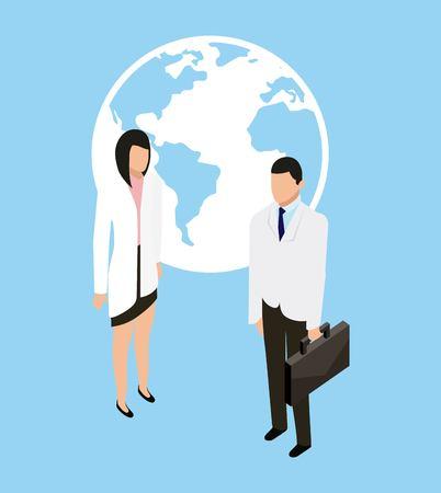 medical health doctor holding portfolio with patient vector illustration Illustration