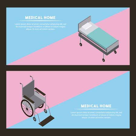 medical health banners stretcher wheelchair service vector illustration