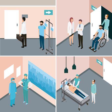 etiquetas de salud médica sala médicos y pacientes del hospital ilustración vectorial