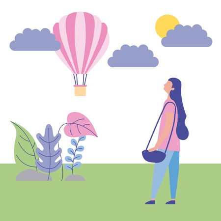 outdoor activities hot air baloon flowers sunday girl looking up vector illustration
