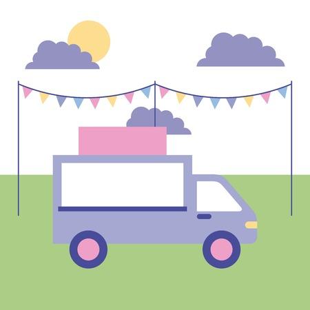 outdoor activities pennants sunday park food car vector illustration 向量圖像