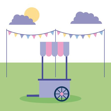 outdoor activities pennants food car in the park sunday vector illustration