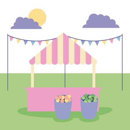 outdoor activities sunday pennants shop flowers in the park vector illustration Çizim