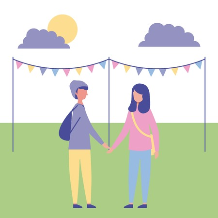 outdoor activities couple holding hands in the park pennants vector illustration Illusztráció