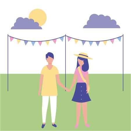 outdoor activities decoration park pennants couple holding hands vector illustration Çizim