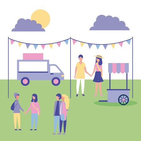 people outdoor activities place to eat food cars in the park vector illustration