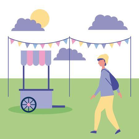 outdoor activities boy with hat walking in the park food car vector illustration Stock Vector - 108545140