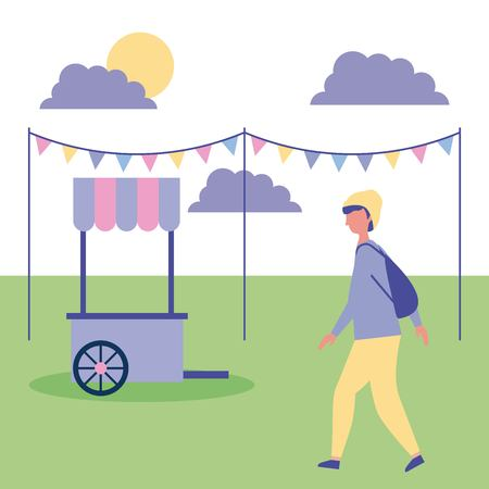 outdoor activities boy with hat walking in the park food car vector illustration